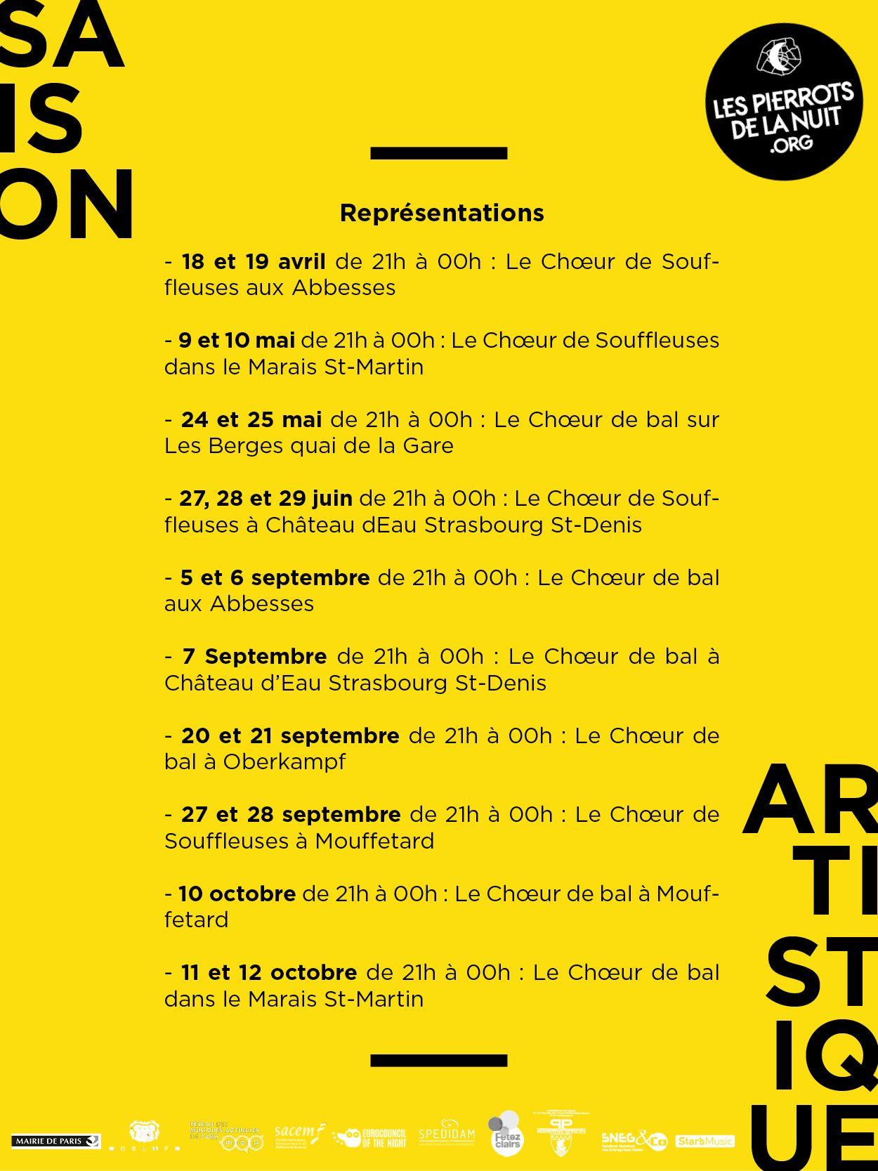 Dates de la saison artistique 2019